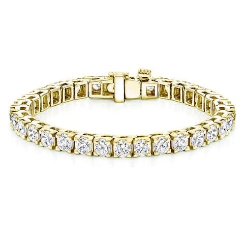Auriya 18k Gold 16.25ctw Round Diamond Tennis Bracelet 7-inch