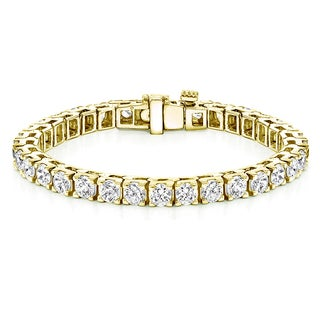 Auriya 18k Yellow Gold 16 1/4ct TDW Round 7-inch Diamond Tennis Bracelet