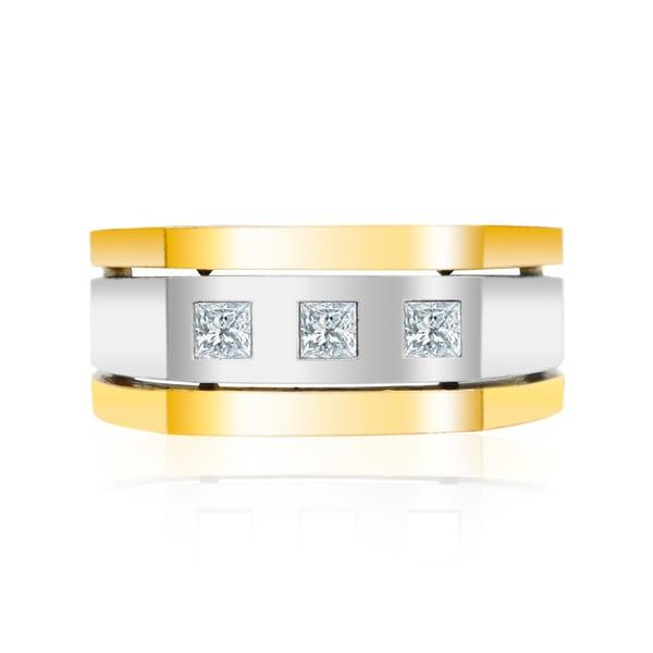 Auriya 14k Two-Tone Gold Men's 1/2ct TDW Square 3-Stone Diamond Wedding Band Ring