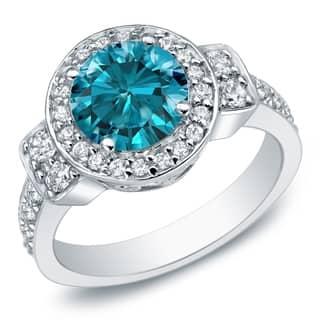 Auriya 14k Gold 2 3/4 carat TW Round Blue Diamond Halo Engagement Ring