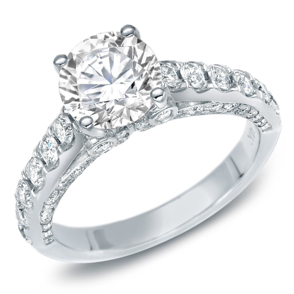 Auriya 14k Gold 1 3/4 ct TDW Certified Asscher-Cut Diamond Engagement ...