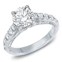 Auriya 14k White Gold 1 3/4ct TDW Certified Round Diamond Engagement Ring