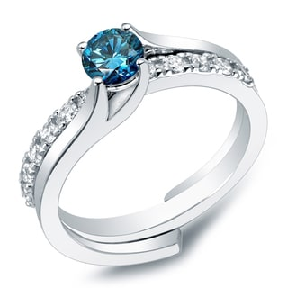 Auriya 14k Gold 1ct TDW Round Blue Diamond Bridal Ring Set