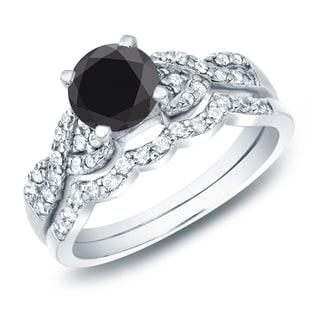 Auriya Women's 14-karat Gold TDW Black Diamond Braided Bridal Ring Set