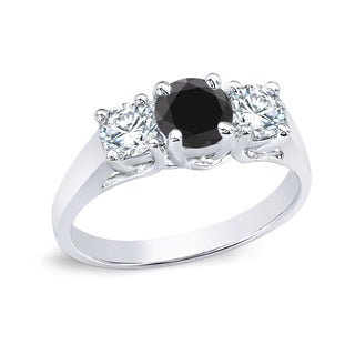 Auriya 14k Gold 1ct TDW 3 Stone Diamond Engagement Ring (Black, I2-I3)