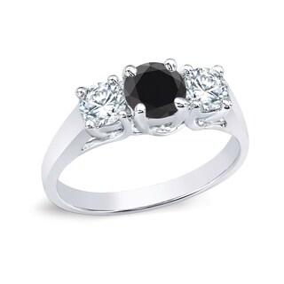 Auriya 14k Gold 1ct TDW Round 3-Stone Black and White Diamond Engagement Ring