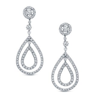 Auriya 14k White Gold 2ct TDW Diamond Dangle Earrings