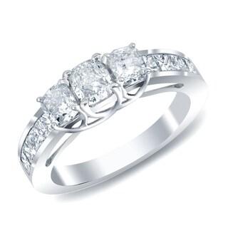 Auriya 14k Gold 3-Stone Cushion-cut Diamond Engagement Ring 2ct TDW