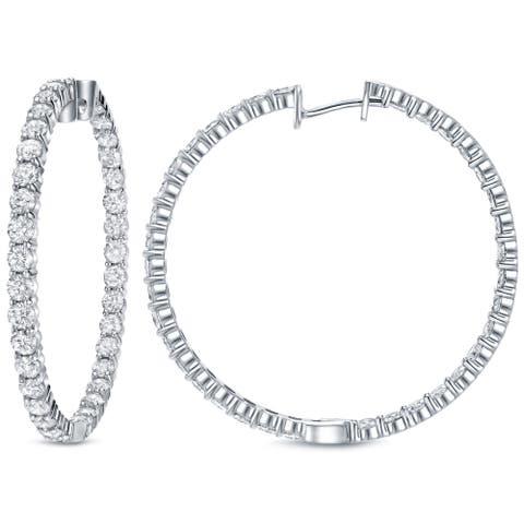 Auriya 14k White Gold 14 1/2ctw Inside-Out Diamond Hoop Earrings