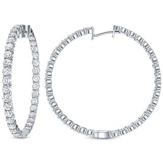 Auriya 14k White Gold 14 1/2ct TDW Inside-Out Diamond Hoop Earrings