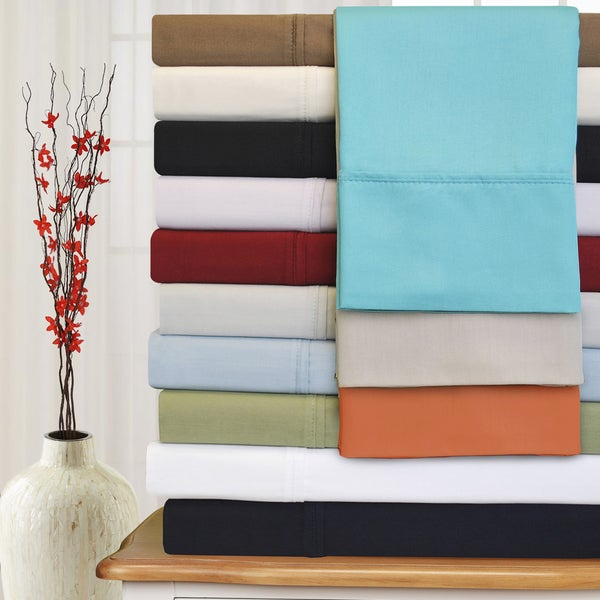 Superior Egyptian Cotton 300 Thread Count Solid Deep Pocket Bed Sheet Set. Opens flyout.