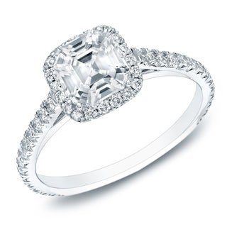 14k Gold 1 1/2ct TDW Certified Asscher-cut Diamond Halo Engagament Ring by Auriya