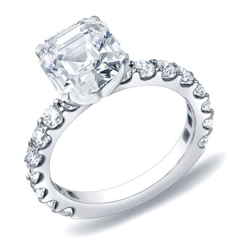Auriya 1 3/4 carat TW Asscher Diamond Engagement Ring 14K Gold Certified