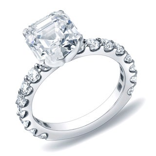 Auriya 14k Gold 1 3/4 ct TDW Certified Asscher-Cut Diamond Engagement Ring