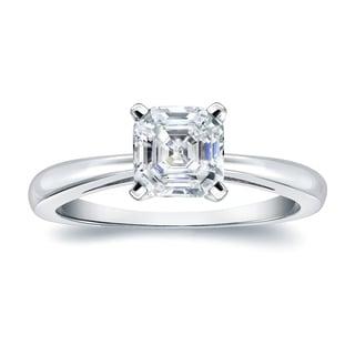 Auriya 14k Gold 3/4ct TDW Asscher-Cut Diamond Solitaire Engagement Ring (H-I, VS1-VS2)