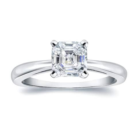 Auriya 3/4 carat TW Solitaire Asscher Diamond Engagement Ring 18K Gold Certified