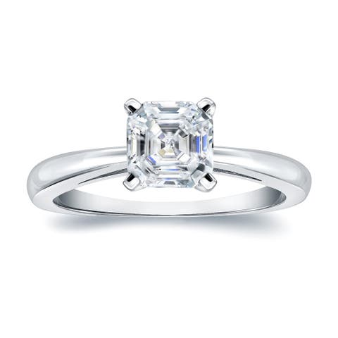 Auriya Platinum 3/4ctw Solitaire Asscher-cut Diamond Engagement Ring Certified