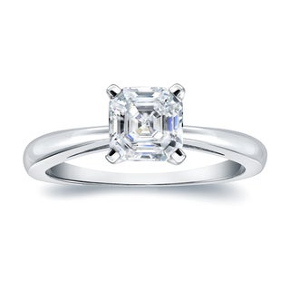 Auriya Platinum 3/4ct TDW Asscher-Cut Diamond Solitaire Engagement Ring