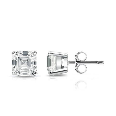 Auriya 1 1/2ctw Asscher-cut Diamond Stud Earrings 14k Gold Certified