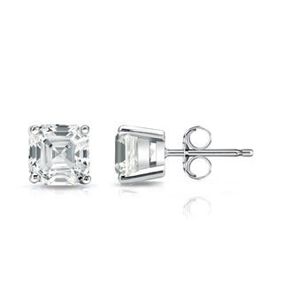 Auriya 14k Gold Certified 1 1/2ct TDW Asscher-Cut Diamond Solitaire Stud Earrings