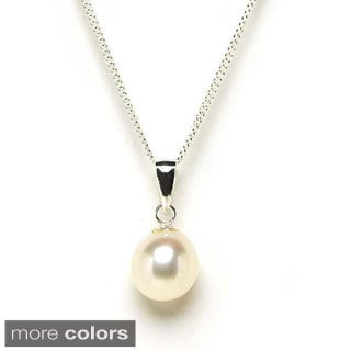 Sterling Silver Freshwater Pearl 18-inch Drop Necklace (8-9mm)