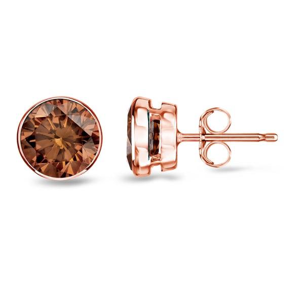 67d05878cb1 Shop Auriya Bezel Set Brown Diamond Stud Earrings 1/2 to 2 carat TW ...