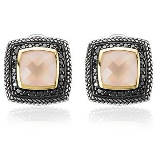 Avanti 18k Yellow Gold and Palladium Silver 1/2ct TDW Black Diamond and Rose Quartz Earrings