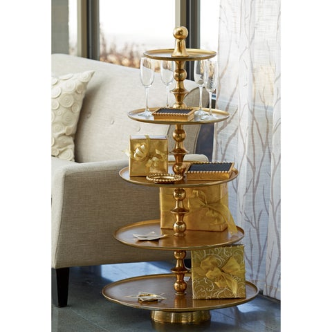 Enormous 5-Tier Gilded Aluminum Stand / Endtable
