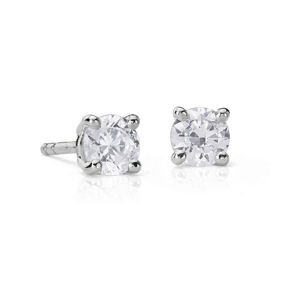 Suzy Levian 14K Gold 1/2ct TDW Classic Four Prong Diamond Stud Earrings