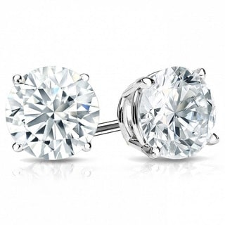 Suzy Levian 14K Gold 1 ct TDW Classic Four Prong Diamond Stud Earrings (G-H, SI2-SI3)