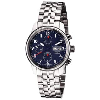 Revue Thommen 16051.6135 'Auto Chrono' Blue Dial Stainless Steel Bracelet Swiss Automaitc Watch|https://ak1.ostkcdn.com/images/products/10363611/P17471085.jpg?impolicy=medium