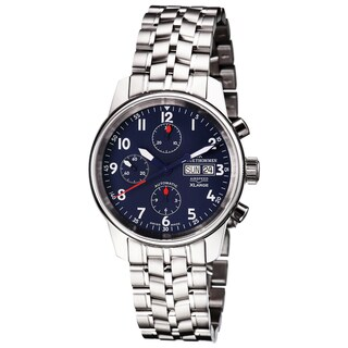 Revue Thommen 16051.6135 'Auto Chrono' Blue Dial Stainless Steel Bracelet Swiss Automaitc Watch - Two-tone