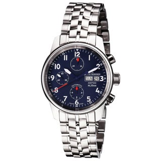 Revue Thommen 'Auto Chrono' Blue Dial Stainless Steel Bracelet Swiss Automaitc Watch - Two-tone