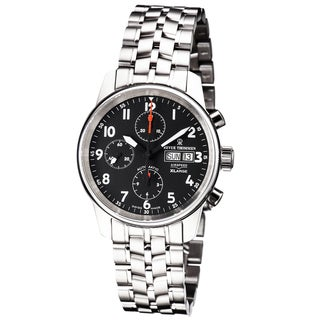 Revue Thommen 16051.6137 'Auto Chrono' Black Dial Stainless Steel Bracelet Swiss Automatic Watch - Two-tone