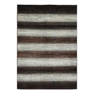 Herat Oriental Afghan Hand-knotted Tribal Vegetable Dye Gabbeh Gray/ Brown Wool Rug (6' x 8'6)