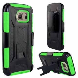 Insten Black/ Green Hard PC/ Silicone Dual Layer Hybrid Phone Case Cover with Holster For Samsung Galaxy S6