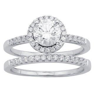 Divina Sterling Silver Austrian Crystal Halo Bridal Set