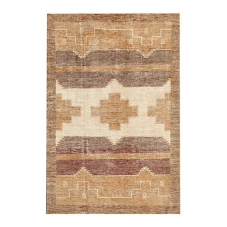Herat Oriental Afghan Hand-knotted Tribal Vegetable Dye Gabbeh Ivory/ Tan Wool Rug (5'10 x 8'8)