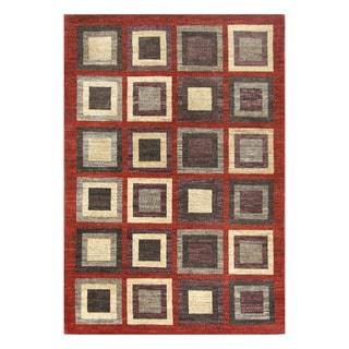 Herat Oriental Afghan Hand-knotted Tribal Vegetable Dye Gabbeh Red/ Dark Gray Wool Rug (5'11 x 8'9)
