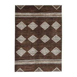 Herat Oriental Afghan Hand-knotted Tribal Vegetable Dye Gabbeh Brown/ Beige Wool Rug (6'2 x 8'8)