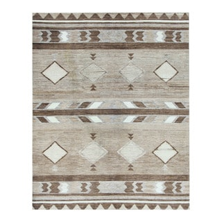 Herat Oriental Afghan Hand-knotted Tribal Vegetable Dye Gabbeh Beige/ Brown Wool Rug (8' x 10'1)