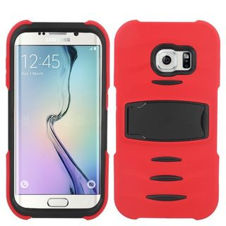 Insten Soft Soft Silicone/ PC Dual Layer Hybrid Rubber Phone Case Cover with Stand/ Screen Protector For Samsung Galaxy S6 Edge