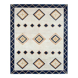 Herat Oriental Afghan Hand-knotted Tribal Vegetable Dye Gabbeh Ivory/ Blue Wool Rug (8' x 9'7)