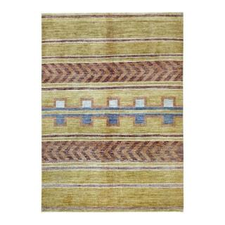 Herat Oriental Afghan Hand-knotted Tribal Vegetable Dye Gabbeh Green/ Brown Wool Rug (5'1 x 7'1)