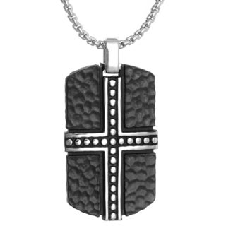 Stainless Steel Blackplated Design Tag Necklace