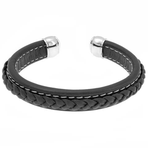 Stainless Steel and Leather Knobbed End Cuff Bracelet