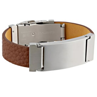 Stainless Steel and Leather Men's Identification Bracelet