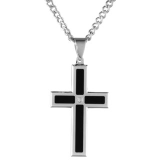 Stainless Steel 0.02ct TDW White Diamond Cross Pendant (H-I, I2-I3)