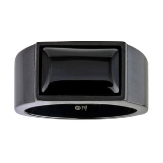 Stainless Steel Men's Black Agate Ring