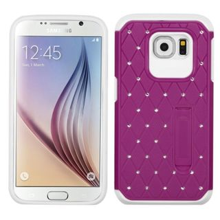 Insten Hard PC/ Soft Silicone Dual Layer Hybrid Rubberized Matte Phone Case Cover with Stand/ Diamond For Samsung Galaxy S6